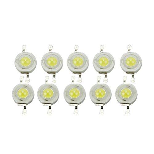 OULII - Lote de 10 perlas de bombilla LED de 45.000 chips de alta potencia para proyector (6000-6500 K, 3 W)