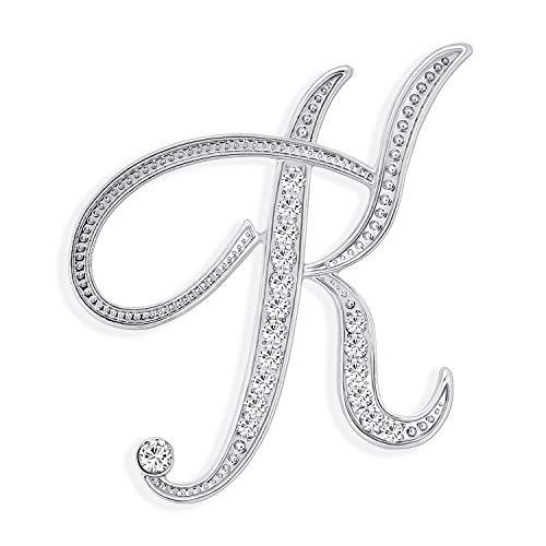 Bling Jewelry Große Aussage ABC Pave Kristall kursive Skript Monogramm Buchstaben Alphabet initial K Schal Anstecknadel Brosche für Frauen Silber vergoldet