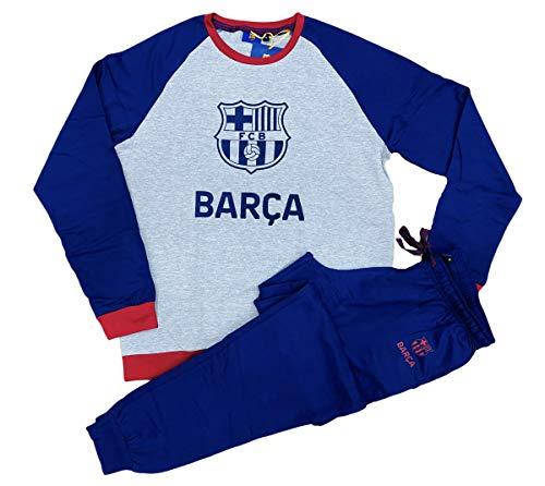 Pijama FC Barcelona Oficial Manga Larga Gris y Marino (XL)