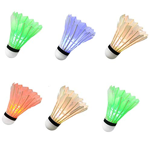 YYZP 6-Pack LED Shuttlecock Badminton, Colorful Shuttlecock Dark Night Goose Feather Glow Birdies Lighting for Outdoor Indoor Sport Activities Gift Game