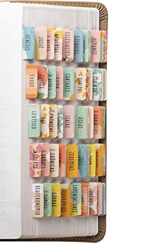 DiverseBee Spanish Bible Tabs (Large Print, Easy to Read), Bible Journaling Book Tabs, Christian Gift, 66 Bible Tabs Old and New Testament, Includes Catholic Books and 9 Blank Tabs - Alegria Theme