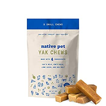 Native Pet Yak Chews for Dogs  5 Small Chews  Pasture-Raised and Organic Himalayan Churpi Chew Long Lasting Low Odor and Protein Rich Reward Treat.