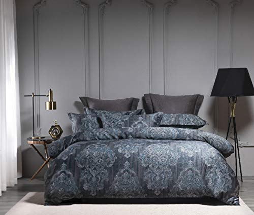 Homebox 3 PCS Duvet Cover Set,King,1200 Thread Count 100% Egyptian Cotton Sateen Bedding Set Quilt Cover with Hidden Button Closure, Vintage Damask Print, Comforter Cover and 2 Pillow Shams—Navy