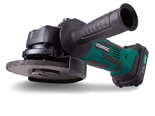 VONROC Akku-Winkelschleifer VPower 20V, 2.0Ah - 115mm - Komplettset mit Akku, Schnellladegerät, Seitengriff und Aufbewahrungstasche