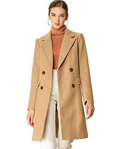 Allegra K Women's Notch Lapel Double Breasted Belted Mid Long Outwear Winter Coat Small Khaki
