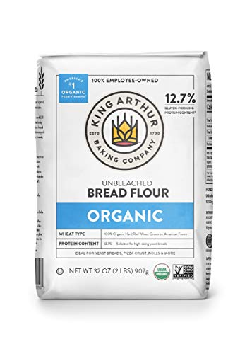 King Arthur, 100% Organic Unbleached Bread Flour, Non-GMO Project Verified, No Preservatives, 2 Pounds (Pack of 12) -Packaging May Vary