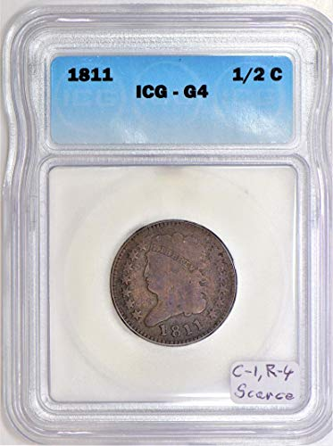 1811 P Classic Head C-1, R-4; Scarcer Wide Date Variety; ICG Certified. Half Cent G-4