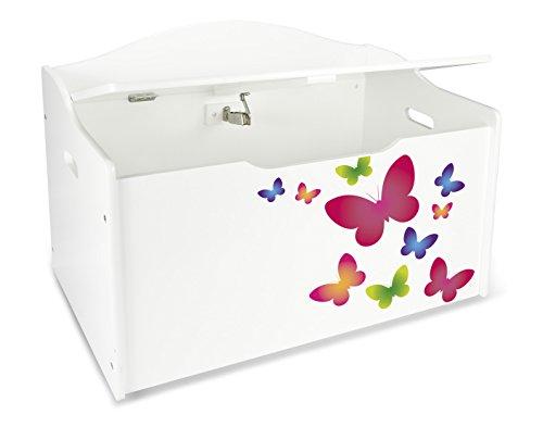 Leomark Kinderbank Hölzerne - Schmetterlinge XL - Kindertruhenbank, Behälter für Spielzeug, Truhe für Kinderzimmer, Kindermöbel, Sitzbank Höhe: 46 cm - 2