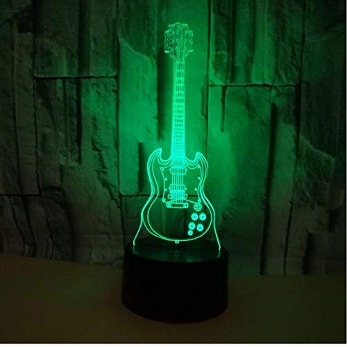 Guitar 3d Night Light Usb Led Gift Atmosphere Art 3d Light Fixtures Kids Lights Lamps touch switch 7-color sleep light