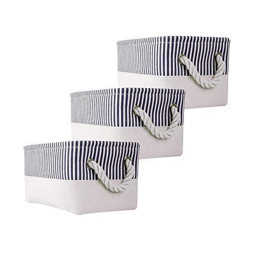 Mangata Cajas de Almacenamiento de Tela, Organizador de Almacenamiento para Libros, Juguetes, artículos Varios, Paquete de 3 (Rayas Azules, Small)