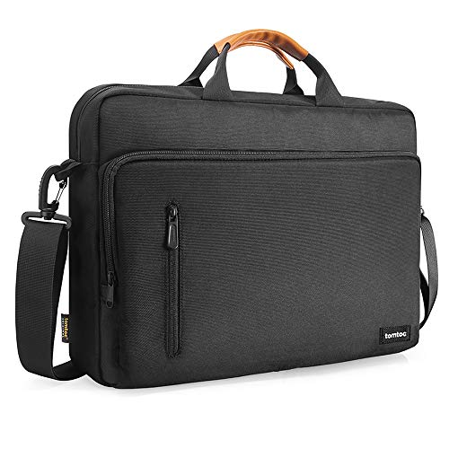 tomtoc Laptop Umhängetasche Schultertasche für 16/15 MacBook Pro, 15 Surface Book 2/3, Dell XPS 15, HP 15/15,6 Zoll Lenovo ThinkPad E595 / IdeaPad S510, Chromebook Aktentasche Laptoptasche, Schwarz