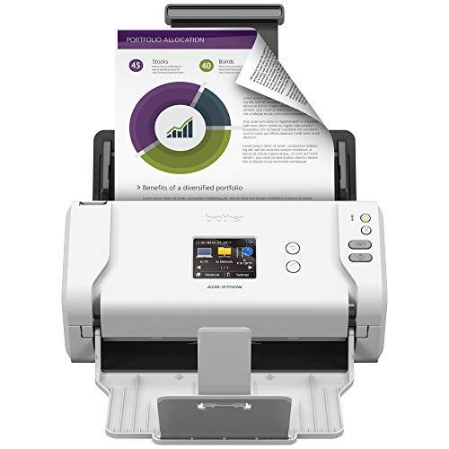 Brother Printer RADS2700W (ADS-2700w) Wireless Space-Saving High-Speed Color Duplex Desktop Document Scanner, White (Renewed)