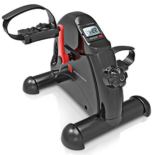 Sportstech Mini Bicicleta, Pedales Estáticos + Fitness App | Entrenador de Piernas + Brazos | Pedales para Casa & Oficina | Pedales Ajustables + Función de Masaje | DFX50