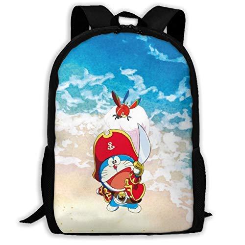 AOOEDM Backpack Mochila de Viaje para Adultos con Dibujos Animados de Anime Doraemon Pirate, Compatible con Mochilas para portátiles de 15,6 Pulgadas, Mochila Escolar, Mochila Informal para Hombres y