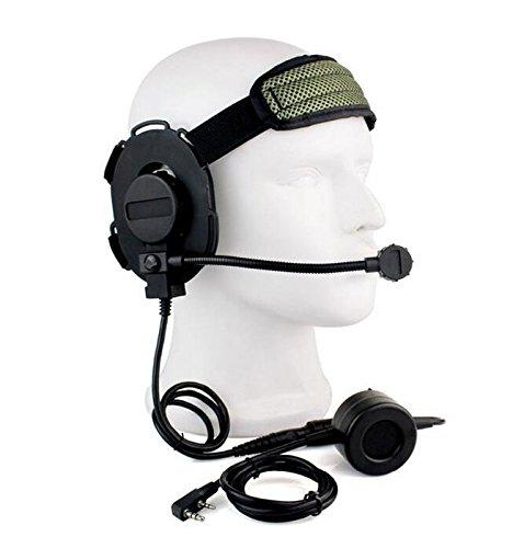 ATAIRSOFT Z Taktisch Bowman Elite II Headset Wasserdichtes PTT Für Kenwood 2Pin Funk (Schwarz)