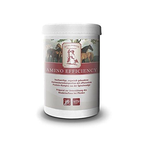 Mühldorfer Amino Efficiency, 750 g, bevordert de spieropbouw, bevat essentiële aminozuren, vrij van drijfmiddelen, aanvullende voering voor paarden en ponys