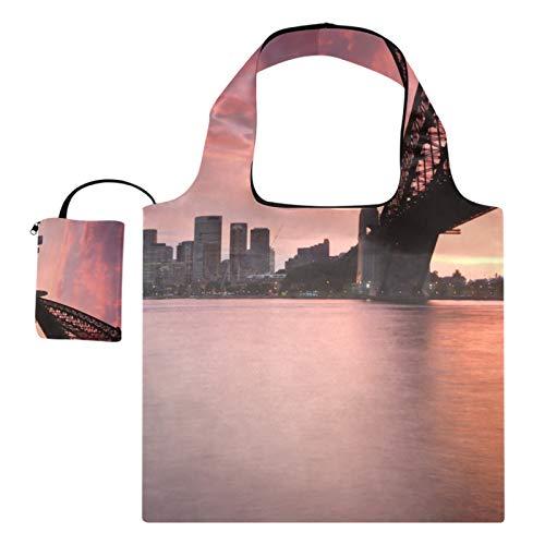 XiangHeFu Bolsas de compras reutilizables de los totalizadores del regalo del ultramarinos Puente plegable, costero de la puesta del sol de la ciudad de gran capacidad