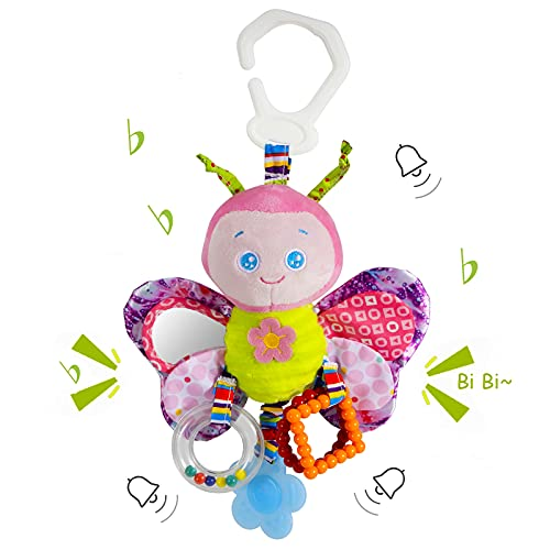Funsland BabyToys for Girls and Boys Clip on Car SeatToy & BabyStroller Toy with Teether and Rattle for Infants Sensory Toys Cartoon Animal Soft KidsToys