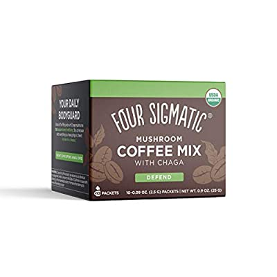 Four Sigmatic, Organic Instant Coffee Mix with Chaga and Cordyceps Mushrooms, 0.09 Ounce, 10 Pack (packaging may vary)