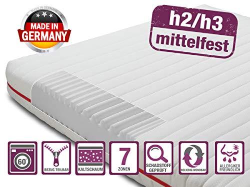 BMM Matratze Klassik 15 - orthopädische 7-Zonen Kaltschaummatratze 90x200 cm, H2 / H3 mittel-fest, Bezug V2 Premium Doppeltuch, Höhe 15cm