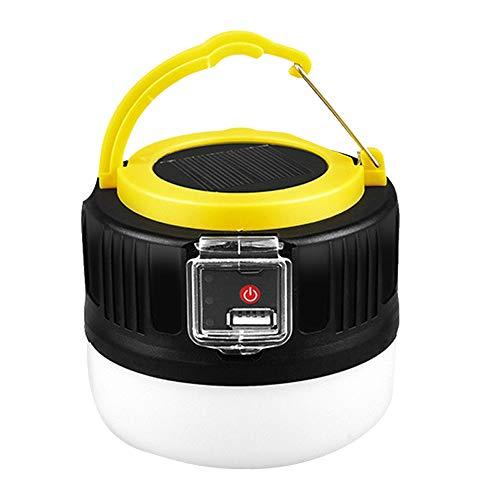 Linterna de camping, bombilla solar, para tienda de campaña, lámpara de mano, recargable, IP65, impermeable, portátil, para camping, senderismo, viajes, color amarillo y negro