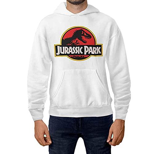 CHEMAGLIETTE! Sudadera con capucha y bolsillo para hombre, de algodón, para el deporte y el tiempo libre, con divertido diseño de Jurassic Park, Color blanco., M