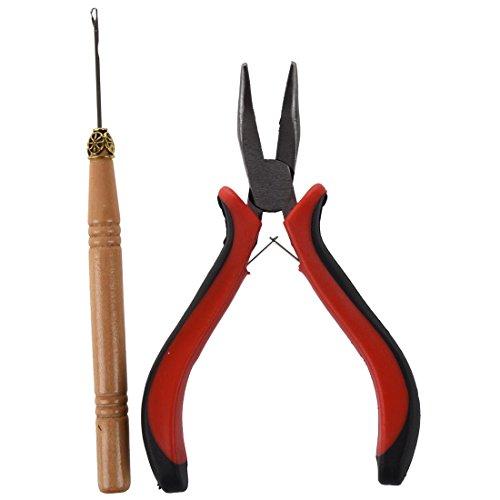 TOOGOO(R) Colle Extension Cheveux Raides Pinces et Aiguilles Tirer Outil de Crochet pour mini Anneaux