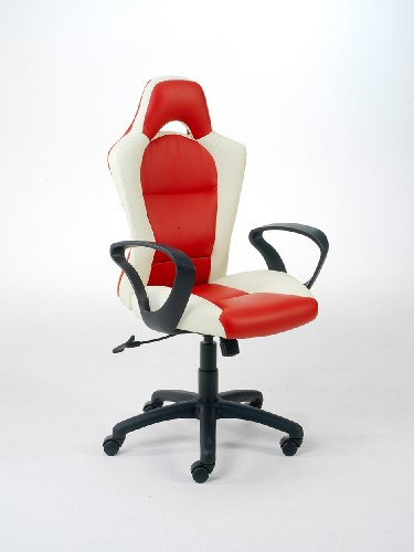 Easychair managersstoel Monza wit/rood