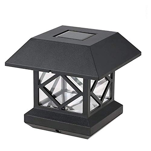 Solar LED Post Lights Outdoor Garden Solar Lamps Waterproof Post Lamp Square Black Landscape Post Cap Lamp Fence Post Lights Landscape Light Lawn Light Decorative Garden