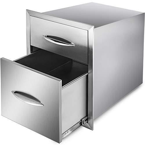 GIOEVO Cassetto per Cucina Esterno Cassetto per Barbecue in Acciaio Inox con Doppio Accesso e Maniglia Cromata (20,8 x 13 x 20,4 Pollici, Cassetto Doppio Accesso)