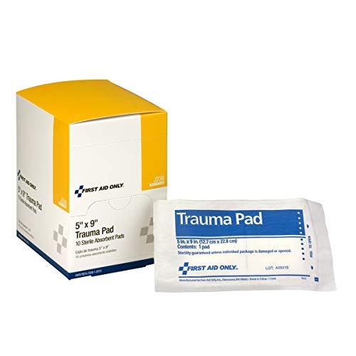 First Aid Only  LYSB00I02OMJUSPRTSEQIP Trauma Pad 5 Inch X 9 Inch 10 Count Box