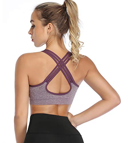 ANGOOL Womens Sports Bra Padded Mid Impact Racerback Comfy Yoga Workout Bra
