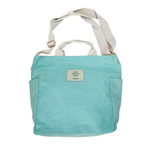 iSoulNa Umhängetaschen Mintgrün Canvas Damen Casual Handtasche Chic Schultertasche Crossbody Bag Shopper für Schule Shopping