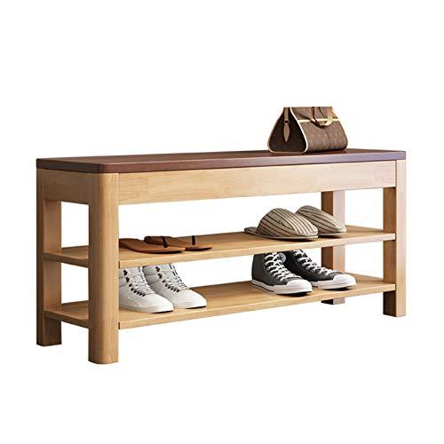 Banco de Zapatos de Entrada Banco de zapatos de 3 niveles, organizador de zapatos de entrada, estante de almacenamiento de madera, taburete moderno con cojín para pasillo Rack de Zapatos de Banco de A