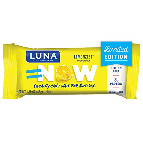 LUNA BAR - Gluten Free Snack Bars - Lemon Zest Flavor - (1.69 Ounce Snack Bar, 15 Count)