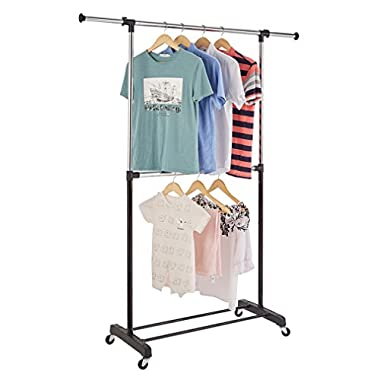 RichStar 2-Tier Adjustable Clothes Garment Rack Rolling Rack-with Commercial Grade Casters,Black&Chrome