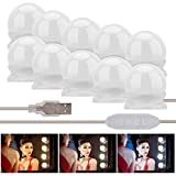 Fanmuran Luces de Espejo de Tocador LED Kit 10 Bombillas Regulables Luces Para Maquillaje Hollywood Espejo de Maquillaje Lámpara Para Maquillaje Tabla de Aparador Baño