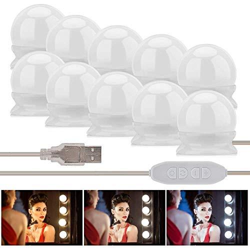 Fanmuran Luces de Espejo de Tocador LED Kit 10 Bombillas Regulables Luces Para Maquillaje Hollywood Espejo de Maquillaje Lámpara Para Maquillaje Tabla de Aparador Baño
