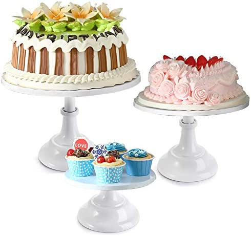 Yarlung Set of 3 White Metal Cake Stands 8 10 12 Inch Pillar Style Cupcake Display Stands Dessert product image
