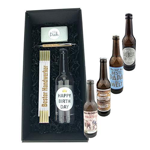 4-teilige Geschenkbox 'Für Dich' - Name wählbar - / Bier/Kulli/Zollstock/Geburtstag/Papa/Mann/Schokolade/Männer, Bier:Handwerker, Zollstöcke Namen:Ulrich