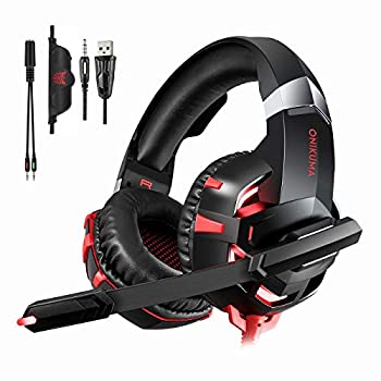 Gaming Headset for PS4 New Xbox one PC Mac Laptop Professional 3.5mm Over Ear Headphones Stereo USB Headset with LED Light and Noise canceling Mic for Games by Runying  Red