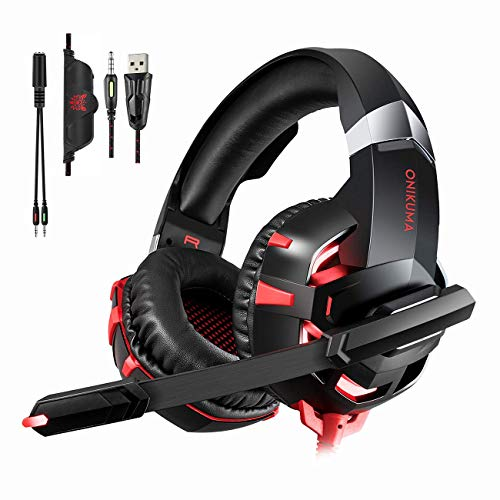 Gaming Headset for PS4 New Xbox one PC Mac Laptop, Professional 3.5mm Over Ear Headphones, Stereo USB Headset with LED Light and Noise canceling Mic for Games by Runying (Red)