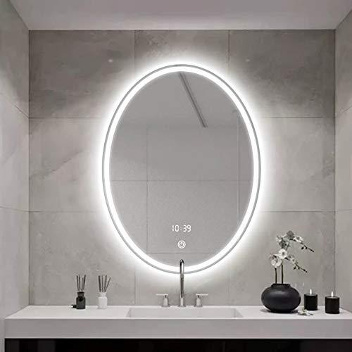 Espejo de baño inteligente, espejo de pared LED, interruptor táctil/regulable/desempañado/pantalla de temperatura de tiempo Espejo de baño inteligente/Como se muestra / 50×70cmC