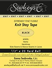 """Black - 1/2"""" Fusible Knit Stay Tape - 0.5"""" X 25 Yards SewkeysE Extremely Fine Knit Interfacing Sold by The 25 Yard Roll (K..."""