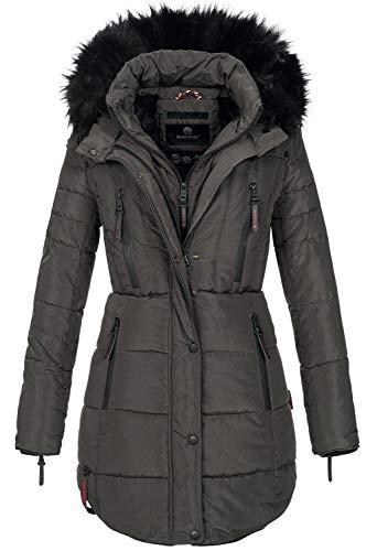 Marikoo warme Damen Winter Jacke Winterjacke Parka Stepp Mantel lang B401 (L, Anthrazit)
