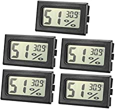 uxcell Black Digital Temperature Humidity Meters Gauge Indoor Thermometer Hygrometer LCD Display Celsius(°C) for Humidors, Greenhouse 5pcs