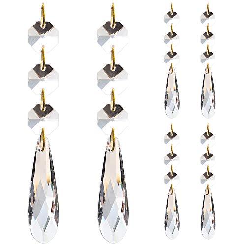 Araña de lágrima de cristal, Candelabro de cristal de 6 piezas, Araña de fiesta de bodas gota de cristal, Candelabros de cristal para decoración del hogar