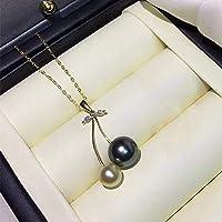 18Kゴールドチェーンネックレス付き6-9mmタヒチ養殖真珠ソリッド18Kゴールドペンダント