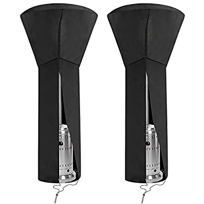 """CKE 2 Pack Upgraded 420D & PU Patio Heater Cover Waterproof with Zipper, Standup Outdoor Heater Covers-36 Months of use 89'' H x 33"""" D x 19"""" B"""