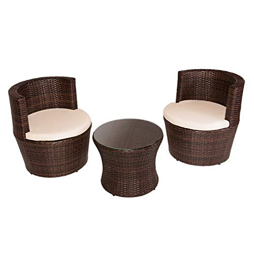DISTRIGAL.SL HomeSouth - Conjunto de Mesa Baja Redonda y Dos sillas de jardín, Mesa de Centro Fija, Mueble de Exterior, Modelo Argentina, Medidas Mesa: 50 cm (diámetro) x 41,5 cm (Alto)